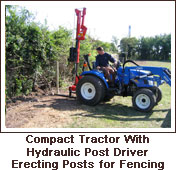 Click to view. Compact Tractor with Hydraulic Post Driver Erecting Posts for Fencing